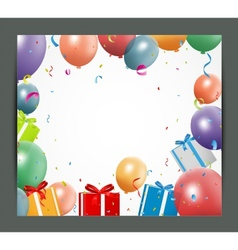 Birthday background with balloons and gift box vector image