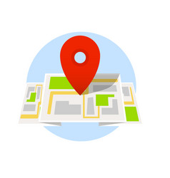 location map with red pointer marker isolated on vector image vector image