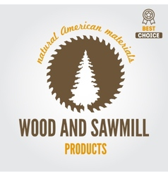 Logo label badge for sawmill carpentry and vector image