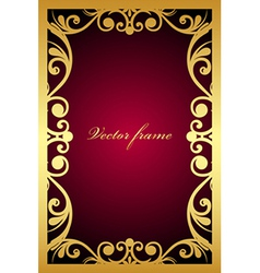 vintage maroon frame with gold ornament vector image vector image