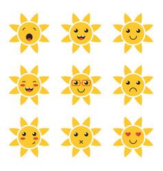 cartoon cute sun character emoji vector image
