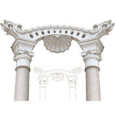 classic arch and columns sketch vector image