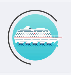 cruise ship icon travel concept background flat vector image vector image