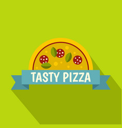 tasty pizza label icon flat style vector image vector image