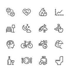 healthcare and healthy lifestyle icons set line vector image vector image