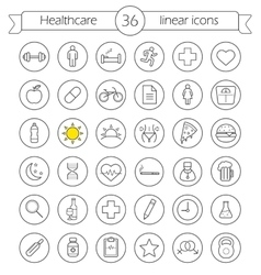 Healthcare linear icons set vector image