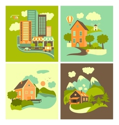 Set of homes vector image