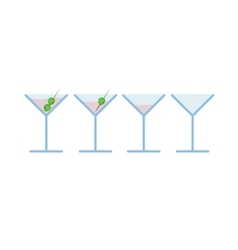 Set of light pink martini alcohol coctail vector image vector image