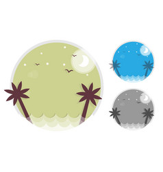 set palm trees silhouette on island round icon of vector image vector image