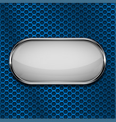 White oval button with metal frame on blue vector