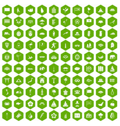 100 asian icons hexagon green vector image