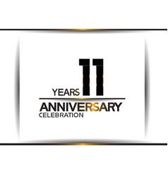 11 years anniversary black color simple design vector
