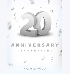 20 years silver number anniversary celebration vector image