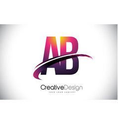 Ab a b purple letter logo with swoosh design vector