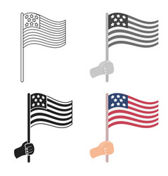 american flag icon in cartoon style isolated on vector image