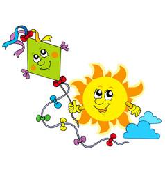 autumn sun with kite vector image