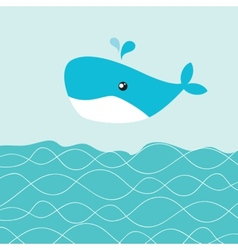 Baby boy shower card with cute whale vector image