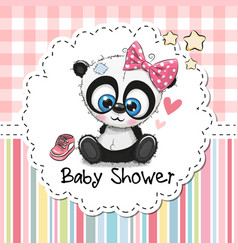 Baby shower greeting card with cartoon panda girl vector