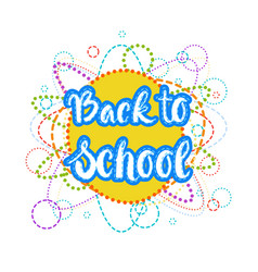 back to school logo colorful text on white vector image