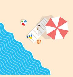 Beach stuff with deckchair and umbrella leisure vector