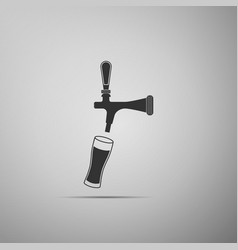 Beer tap with glass icon on grey background vector