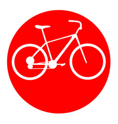 bicycle bike sign white icon in red vector image
