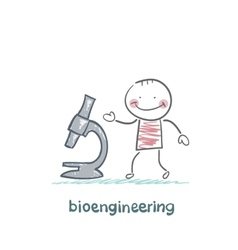 bioengineer looking through a microscope vector image