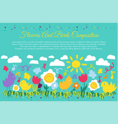 birds and flowers flat banner with copyspace vector image