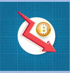 bitcoin market crash graph on blueprint vector image