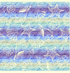 blue waves pattern and hand draw in marine style vector image