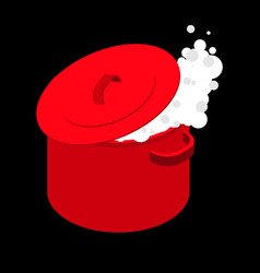 Boiling water in red saucepan isolated boil soup vector