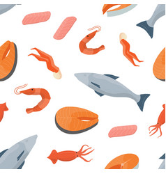 Bright colored seamless pattern with fish salmon vector