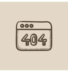 Browser window with 404 error sketch icon vector image