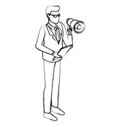 businessman with bullhorn vector image