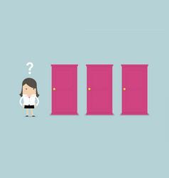 businesswoman standing beside three doors vector image
