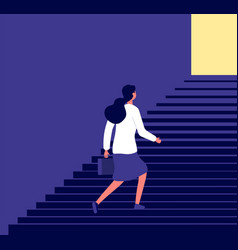 businesswoman walking up stairs successful vector image