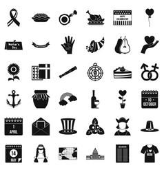 Calendar celebation icons set simple style vector