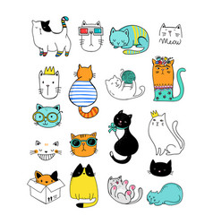 Cat doodles collection vector