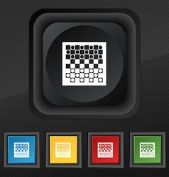 Checkers board icon symbol Set of five colorful vector