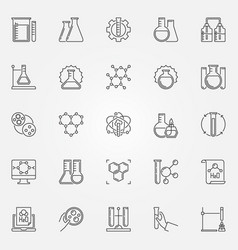 Chemistry outline icons set chemical engineering vector