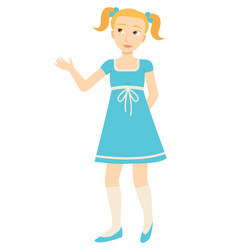 child or girl in dress isolated character kid vector image