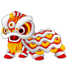 Chinese lion dance isolated on white background vector