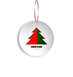 christmas card of circle paper with a tree on vector image