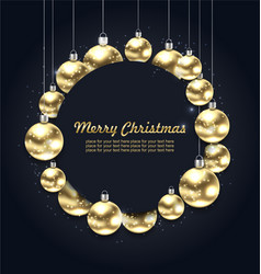 Christmas golden glowing balls with celebration vector