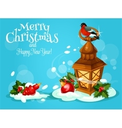 Christmas lantern with holly berry and bauble card vector image