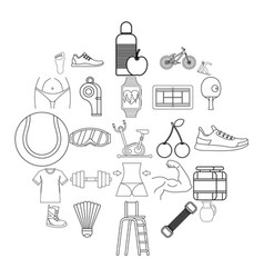 coaching icons set outline style vector image