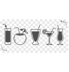 Cocktail drinks linear style silhouette vector