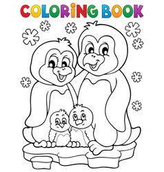 coloring book penguin family theme 1 vector image