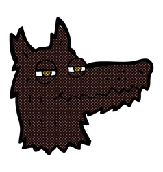 comic cartoon smug wolf face vector image