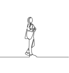 Continuous line student standing girl first day vector